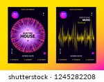 techno music poster. wave flyer ... | Shutterstock .eps vector #1245282208