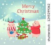 piglets decorating christmas... | Shutterstock .eps vector #1245299362