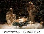 christmas manger scene with... | Shutterstock . vector #1245304135