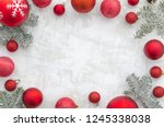 christmas frame background with ... | Shutterstock . vector #1245338038