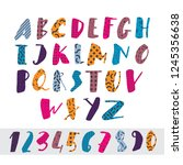 funny and cute vector font.... | Shutterstock .eps vector #1245356638