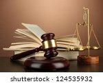 golden scales of justice  gavel ... | Shutterstock . vector #124535932