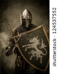 medieval knight with sword and... | Shutterstock . vector #124537552