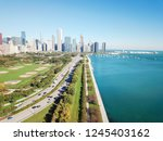 top view of downtown chicago...   Shutterstock . vector #1245403162