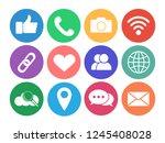 set of social network icons.... | Shutterstock .eps vector #1245408028