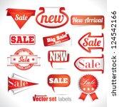 red sale labels set | Shutterstock .eps vector #124542166