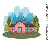 house with garden pine trees... | Shutterstock .eps vector #1245440365