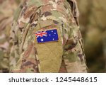 flag of australia on soldiers... | Shutterstock . vector #1245448615