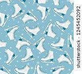 figure skates seamless pattern | Shutterstock .eps vector #1245452092