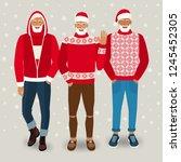 handsome men dressed as santa... | Shutterstock .eps vector #1245452305