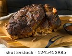 smoked roasted pork butt... | Shutterstock . vector #1245453985