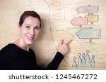 brunette woman standing at... | Shutterstock . vector #1245467272