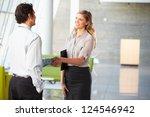 businessman and businesswoman... | Shutterstock . vector #124546942