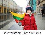 cute little girl celebrating... | Shutterstock . vector #1245481015