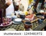 beautiful dessert table with... | Shutterstock . vector #1245481972