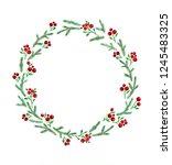 watercolor blue fir branches... | Shutterstock . vector #1245483325