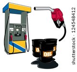 gas station and barrels of oil... | Shutterstock .eps vector #124548412