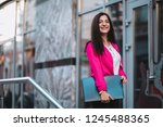 young business women seat on... | Shutterstock . vector #1245488365