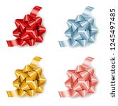 set of colorful realistic gift... | Shutterstock .eps vector #1245497485
