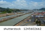 Panama Canal, view from the top observation deck of Miraflores museum / visitors center.
