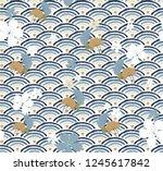 japanese pattern vector. wave ... | Shutterstock .eps vector #1245617842