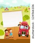 go to school  school bus   Shutterstock .eps vector #124566106