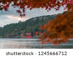 an iconic red gate of hakone... | Shutterstock . vector #1245666712