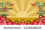 japanese lucky bags and bamboo... | Shutterstock .eps vector #1245668635