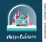 christmas glass snow globe with ... | Shutterstock .eps vector #1245671602