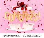 congrats text with golden... | Shutterstock . vector #1245682312