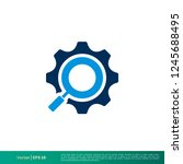 cogwheel  gear magnifying glass ... | Shutterstock .eps vector #1245688495