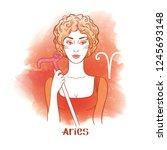 aries astrological sign.... | Shutterstock .eps vector #1245693148