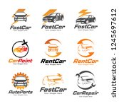 car logos and icons set ... | Shutterstock .eps vector #1245697612