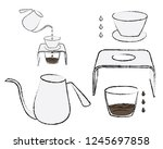process of coffee brewing in...   Shutterstock .eps vector #1245697858