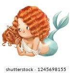 cute cartoon mermaid | Shutterstock . vector #1245698155