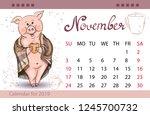 calendar for november 2019 ... | Shutterstock .eps vector #1245700732