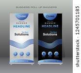 modern roll up banner. blue... | Shutterstock .eps vector #1245701185