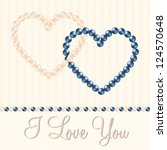 cream and blue pearl hearts in... | Shutterstock .eps vector #124570648