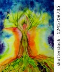 psychedelic woman tree of life... | Shutterstock . vector #1245706735