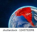 latin america on realistic... | Shutterstock . vector #1245752098