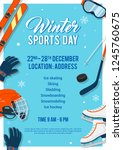 winter sports day poster... | Shutterstock .eps vector #1245760675