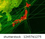 japan on digital map with... | Shutterstock . vector #1245761275