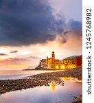 sunset on the sea  camogli ... | Shutterstock . vector #1245768982