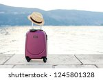 pink suitcase with straw hat...   Shutterstock . vector #1245801328