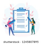 business man and woman fill out ... | Shutterstock .eps vector #1245807895