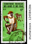 Small photo of AFARS AND ISSAS - CIRCA 1975: a stamp printed in Afars and Issas shows Grivet, Cercopithecus Aethiops, Monkey, circa 1975