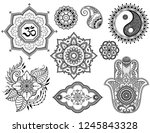 big set of mehndi flower... | Shutterstock .eps vector #1245843328