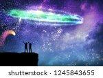 couple under starry sky magic... | Shutterstock . vector #1245843655