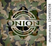 onion on camouflaged texture
