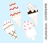 ice cream line drawing vector... | Shutterstock .eps vector #1245856498
